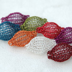 Multi-colored crocheted beads