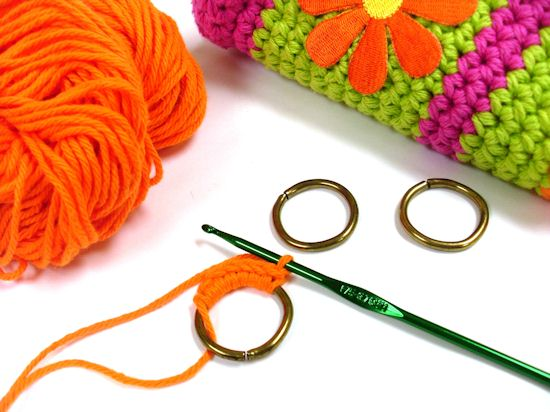 Crochet around rings
