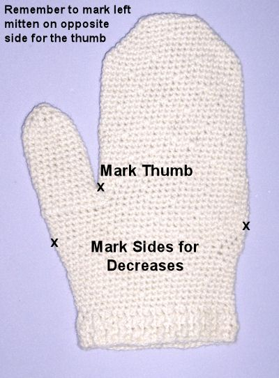 Marking mittens for thumb and palm base