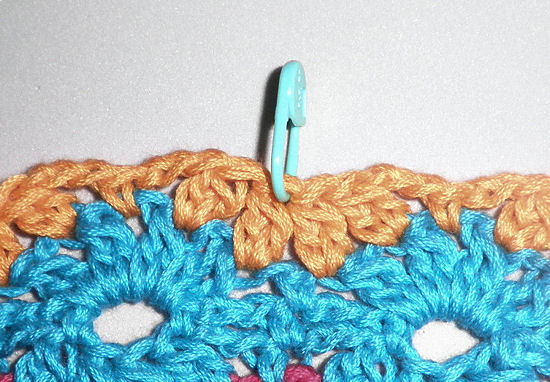 Close up of marked stitch